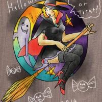 ハロウィン魔女とオバケのイラスト